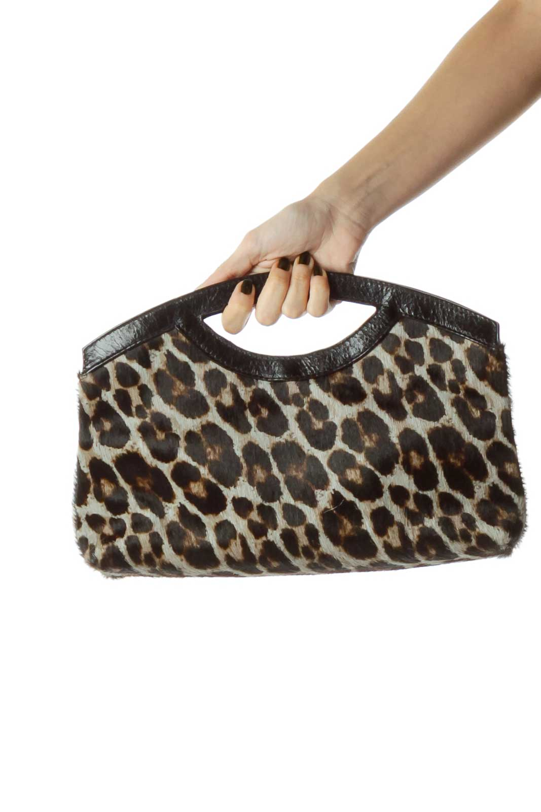 Black Leopard Print Leather Handle Clutch Front