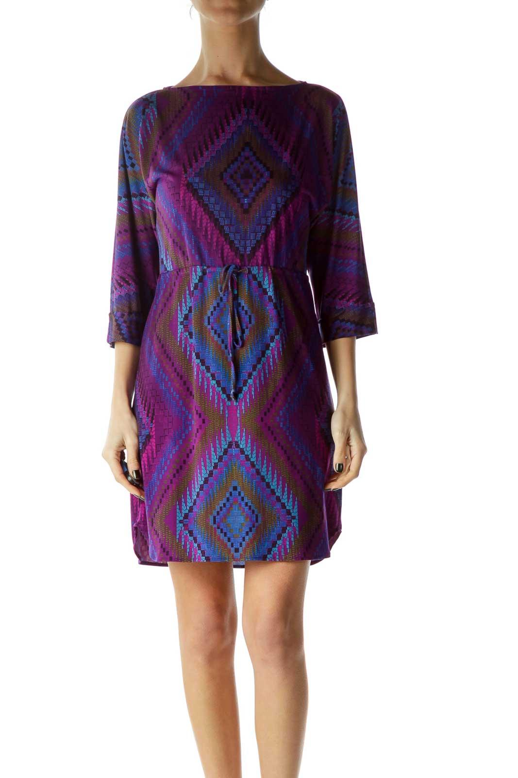 Purple Print Boat Neck Dress Front