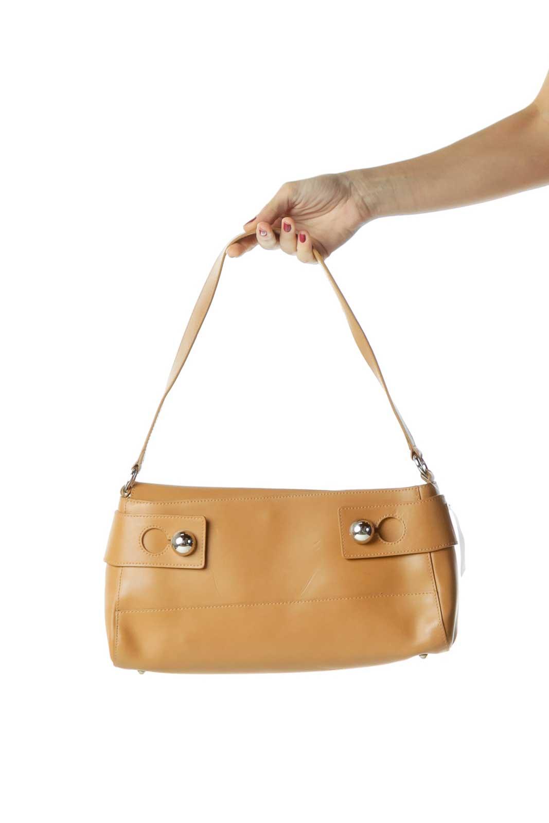 Beige Buckle Detail Leather Shoulder Bag Front