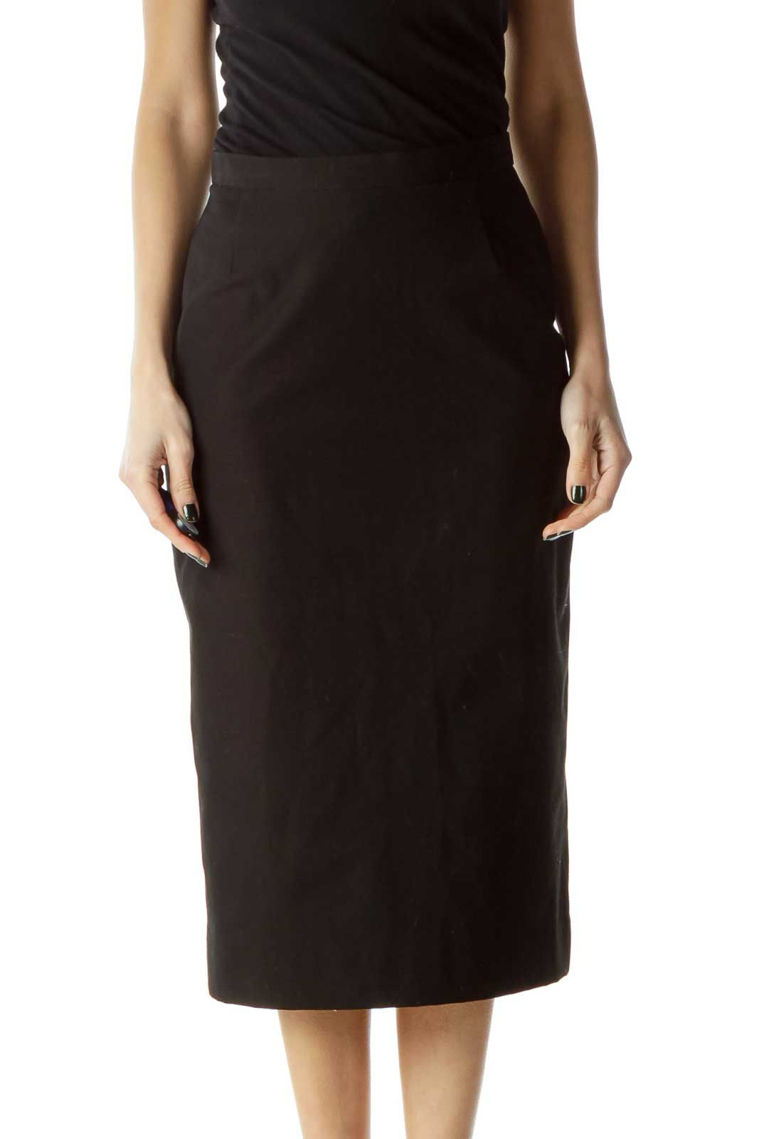 Black Fitted Midi Skirt Front
