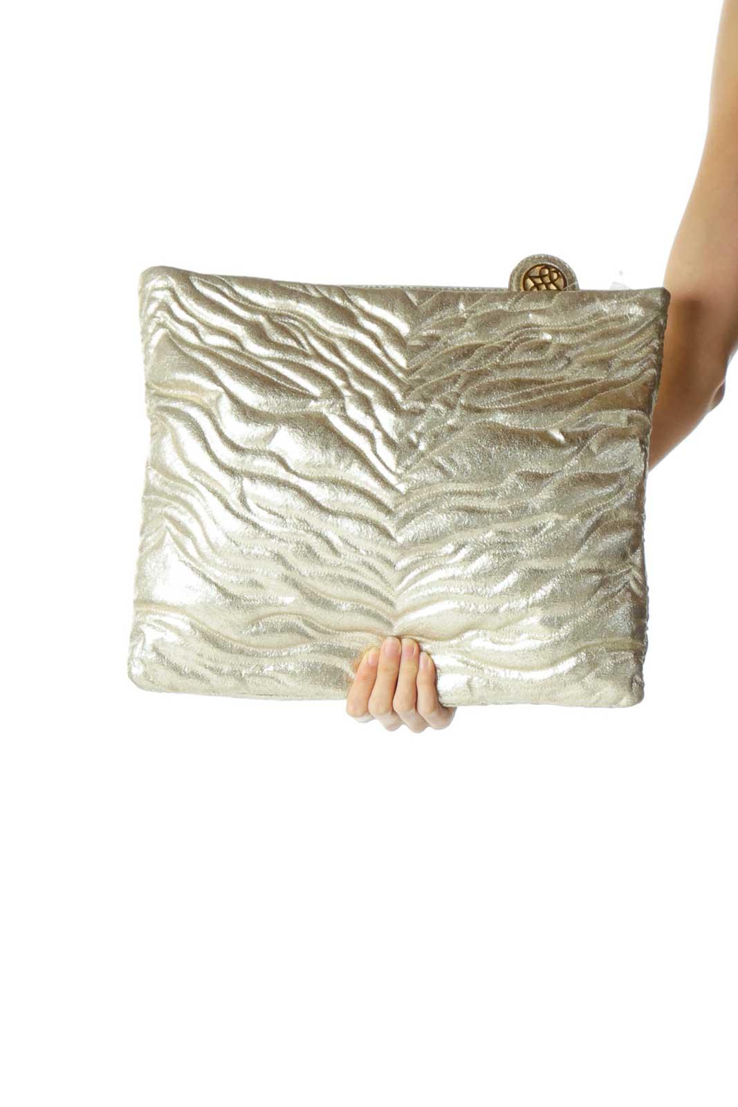 Gold Metallic Textured Clutch Front