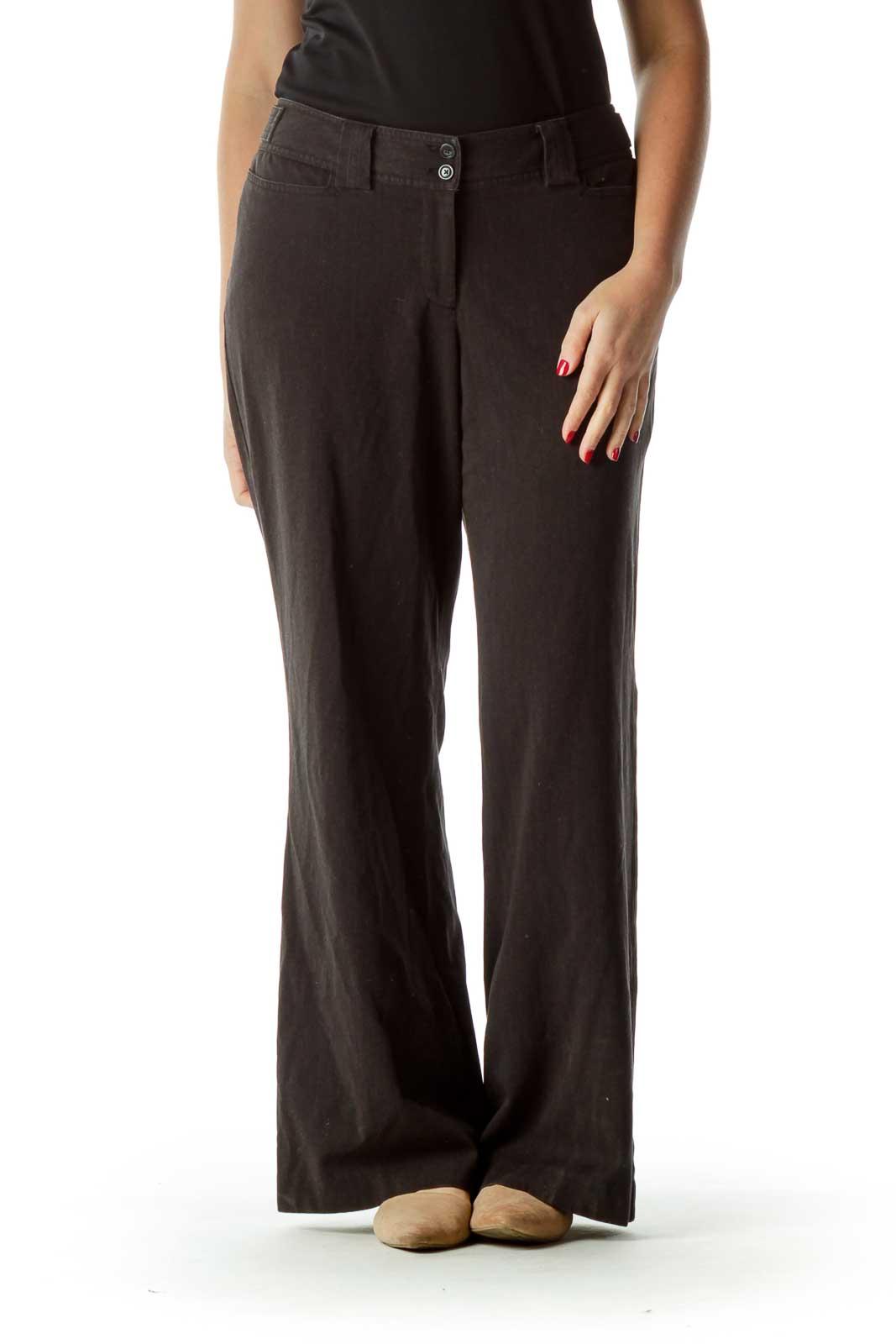 Black Straight Leg Soft Pants Front
