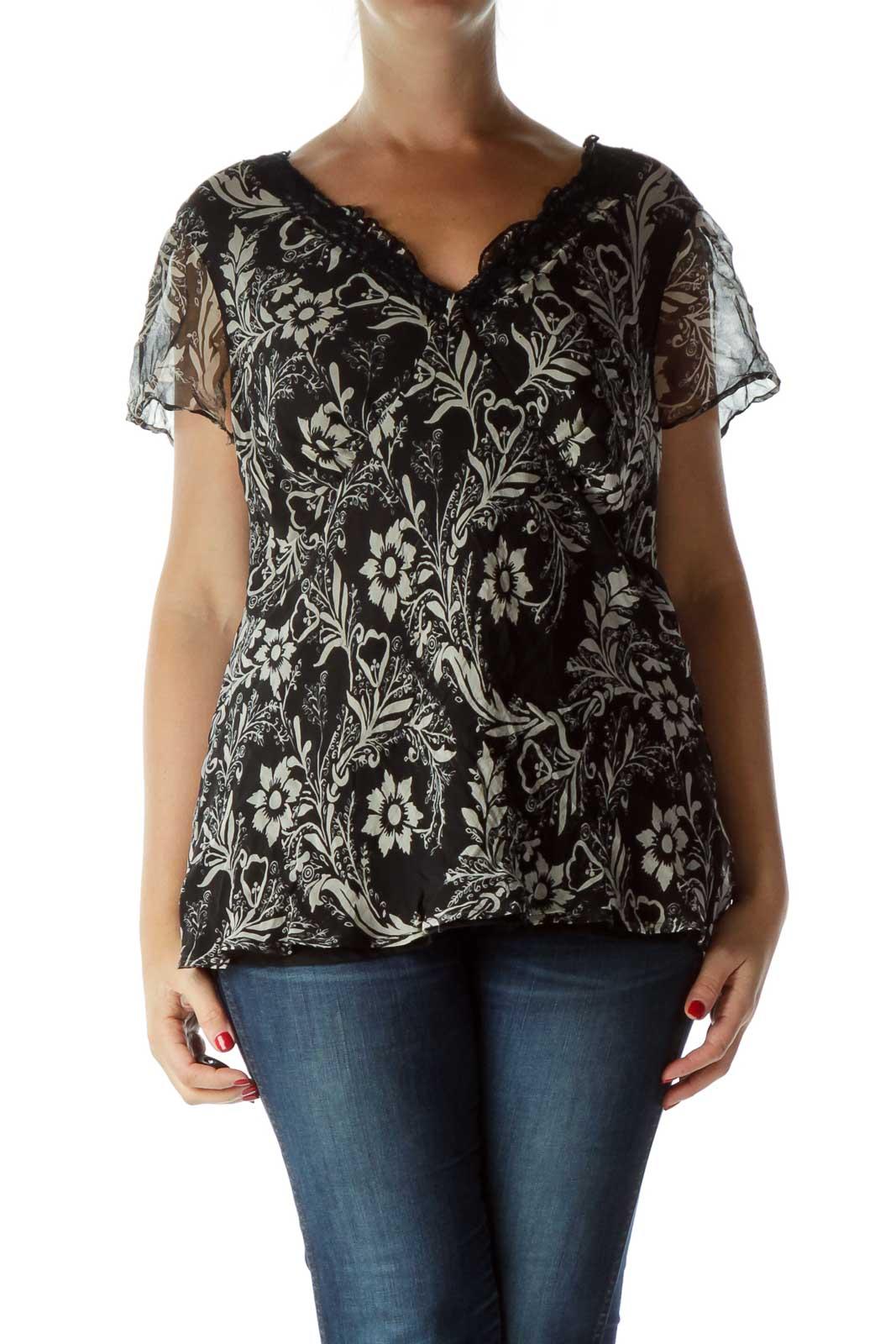 Black Print Silk Blouse Front
