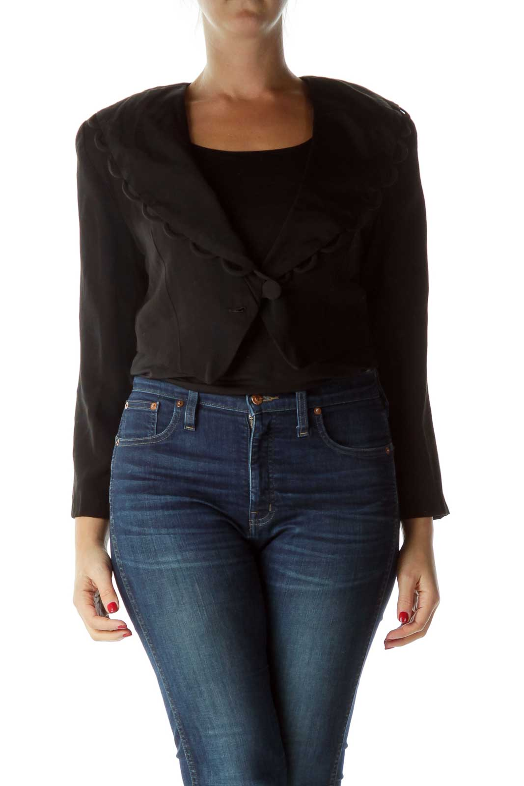 Black Cropped Jacket with Shoulder Pads Front