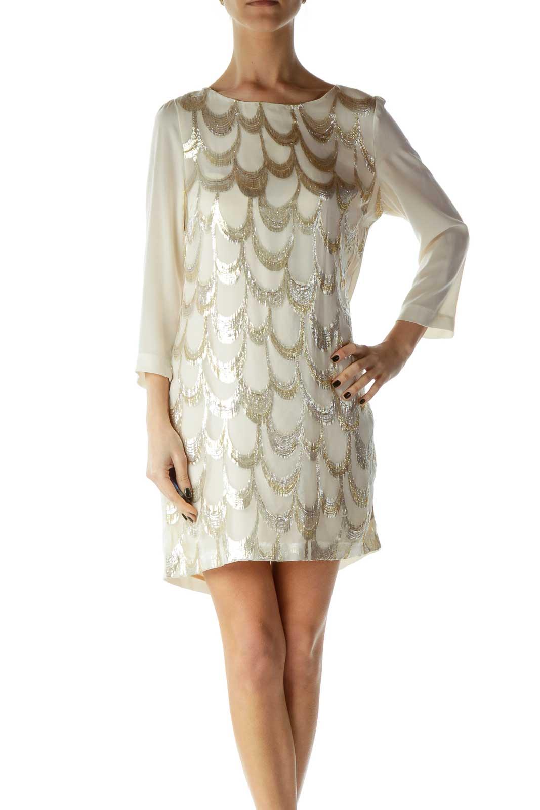 Cream Shiny Silk Shift Dress Front
