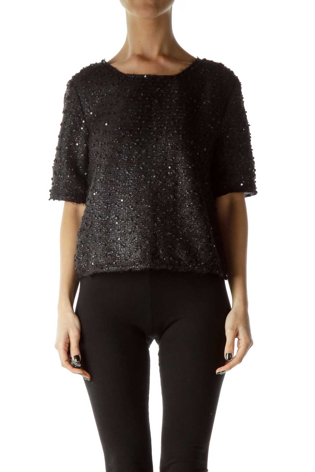 Black Sequined Knit Crop  Front