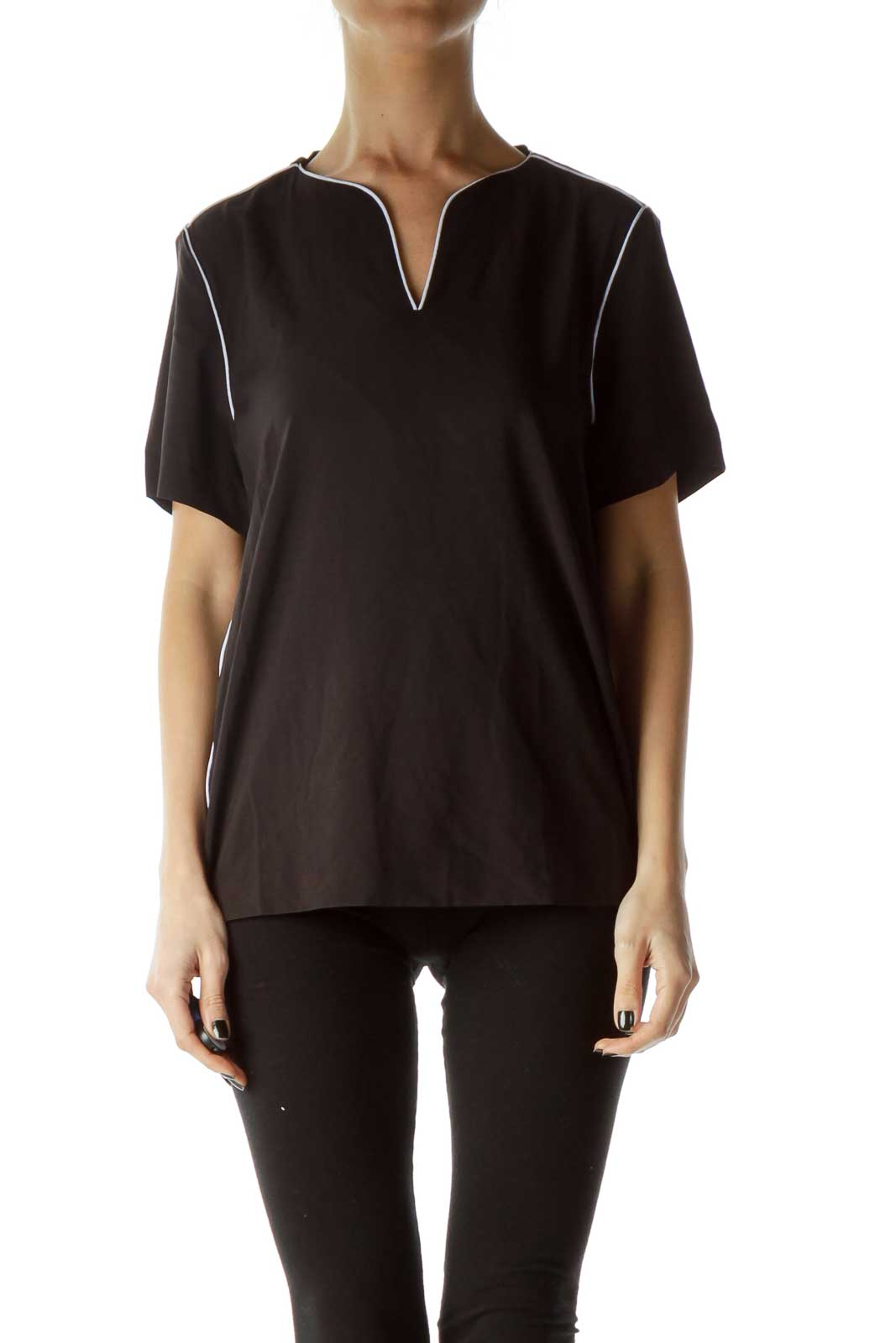 Black Blouse with White Trim Front