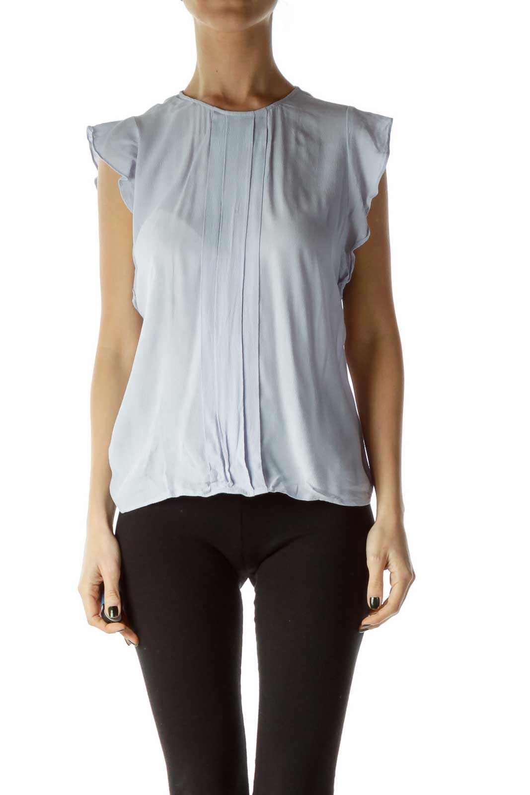 Blue Sleeveless Blouse with Pleats Front