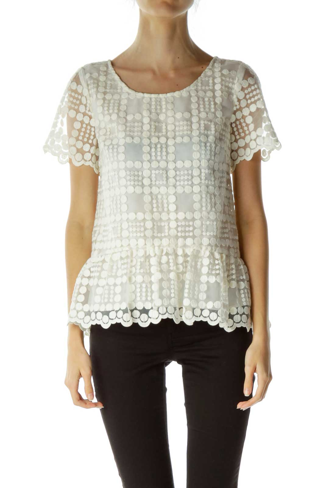 Cream Embroidered Short Sleeve Top Front