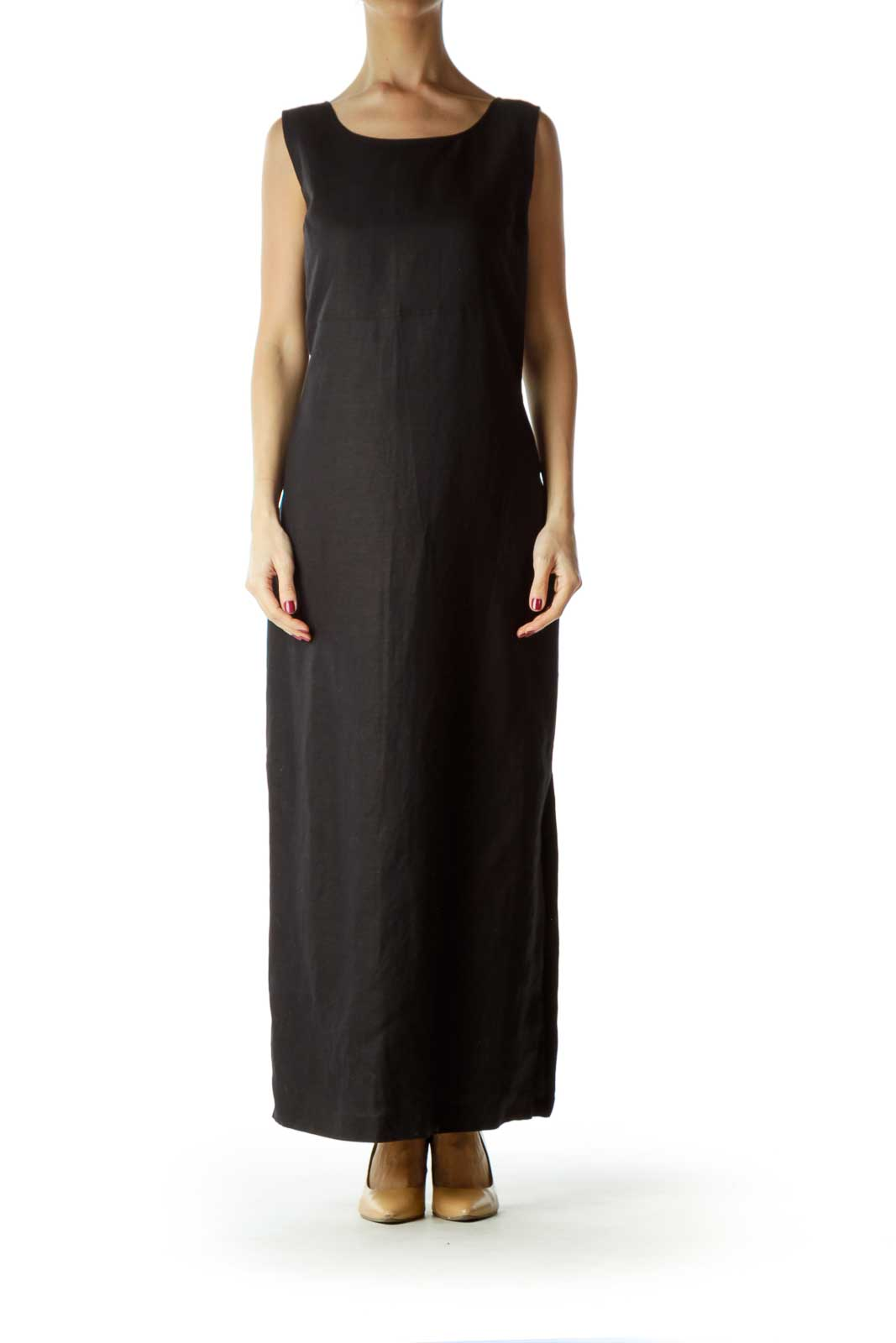 Black Sleeveless Linen Blend Maxi Work Dress Front