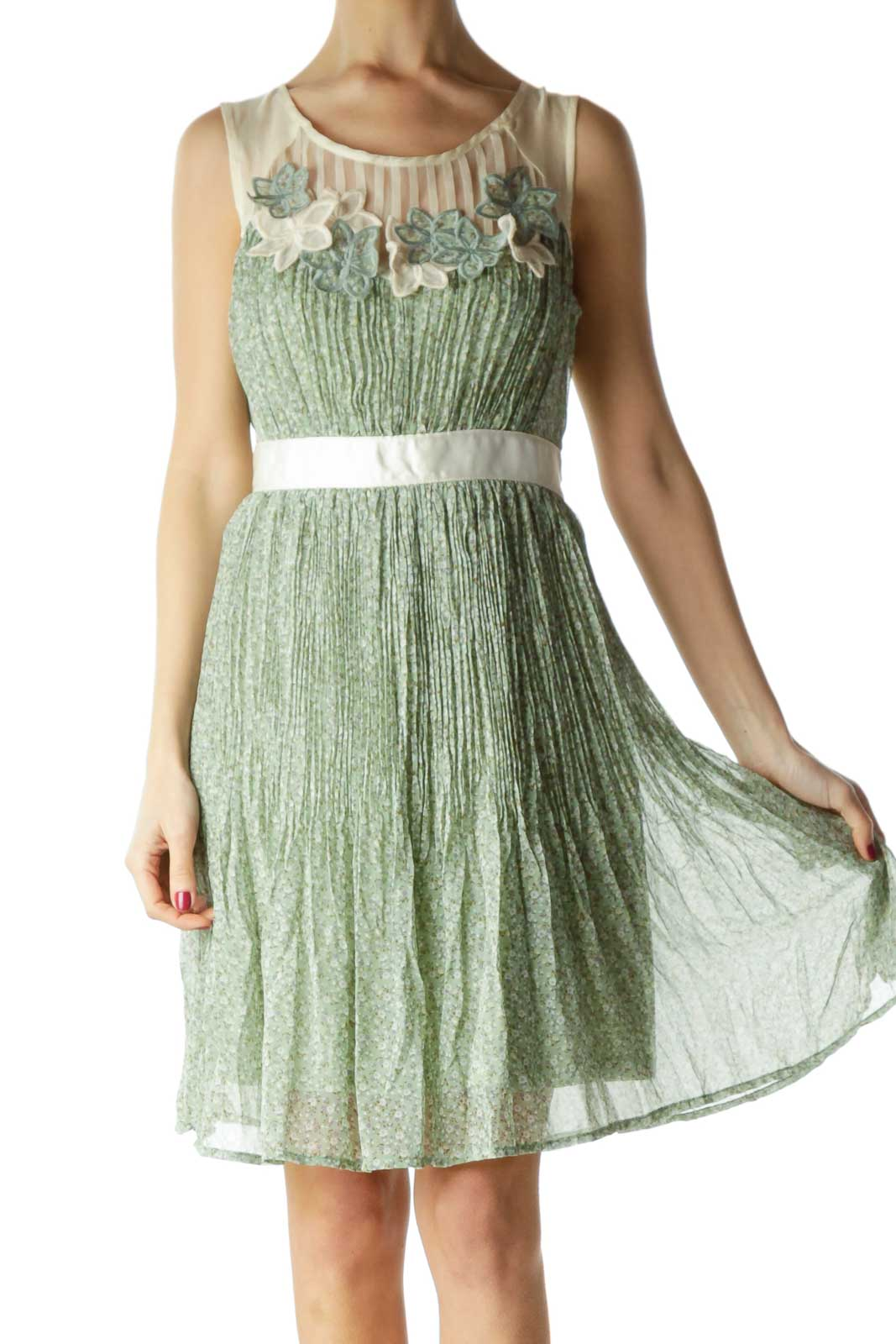 Green Beige Floral Print Day Dress Front
