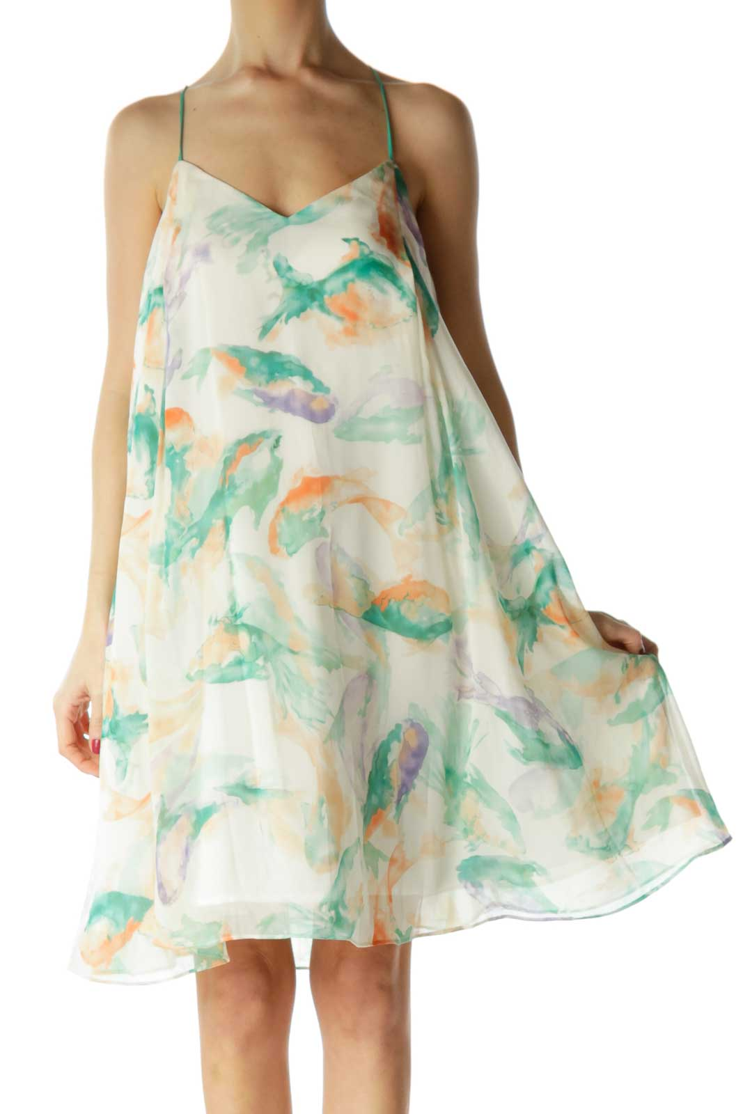Beige Green Watercolor Day Dress Front