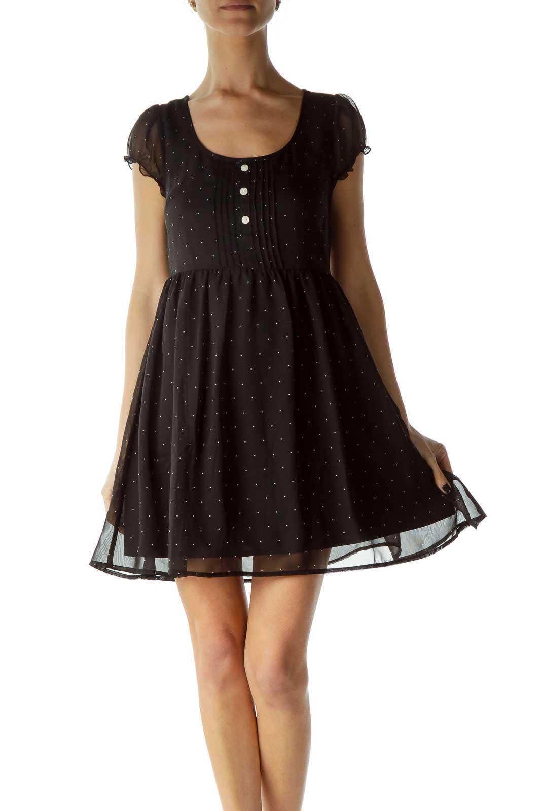 Black White Polka-Dot Day Dress Front