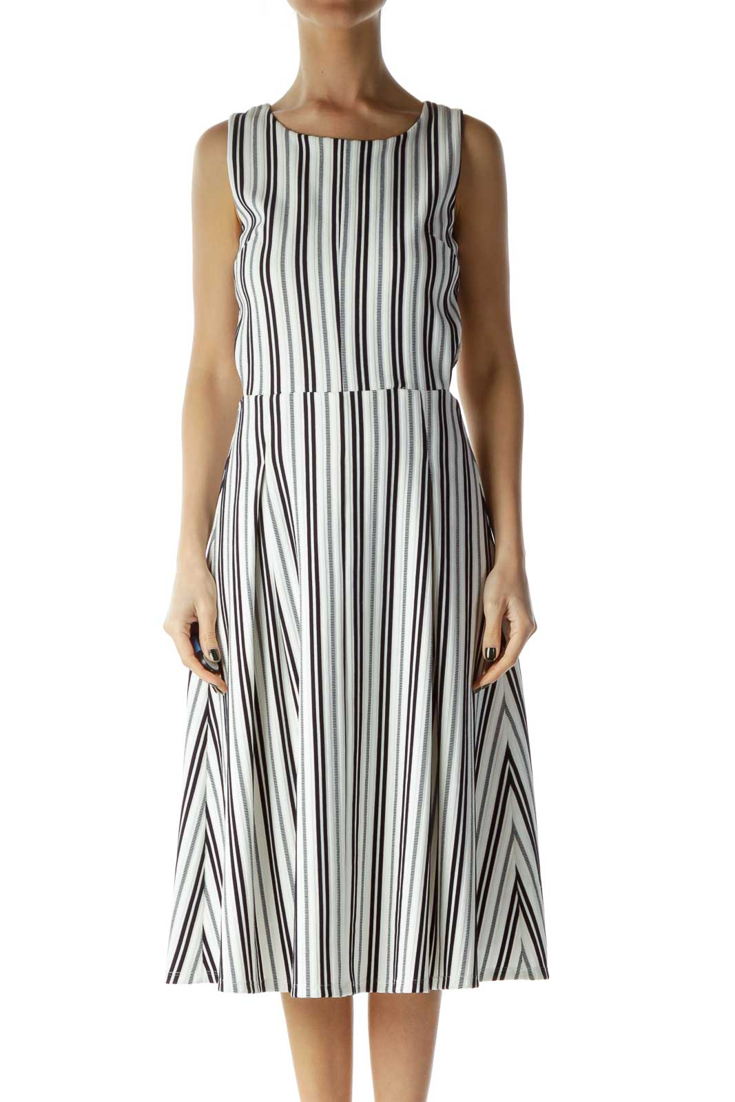 White and Black Striped Cut Out A-Line Dress Front