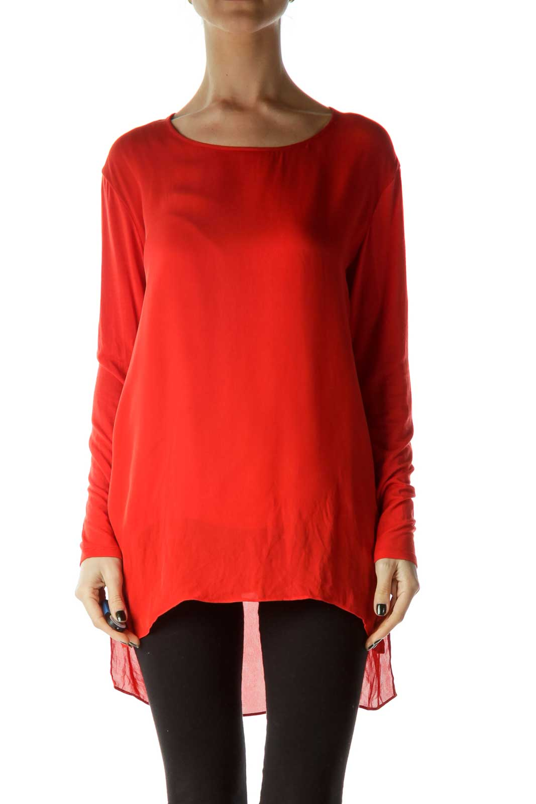 Red Boat Neck Silk Blouse Front