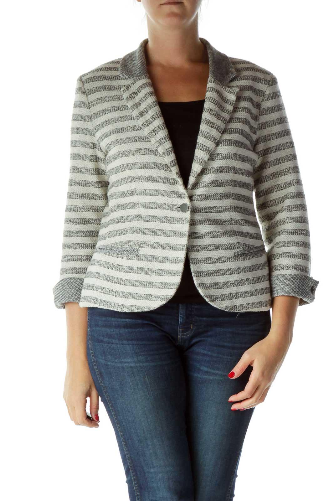 Cream Gray Striped Blazer Front