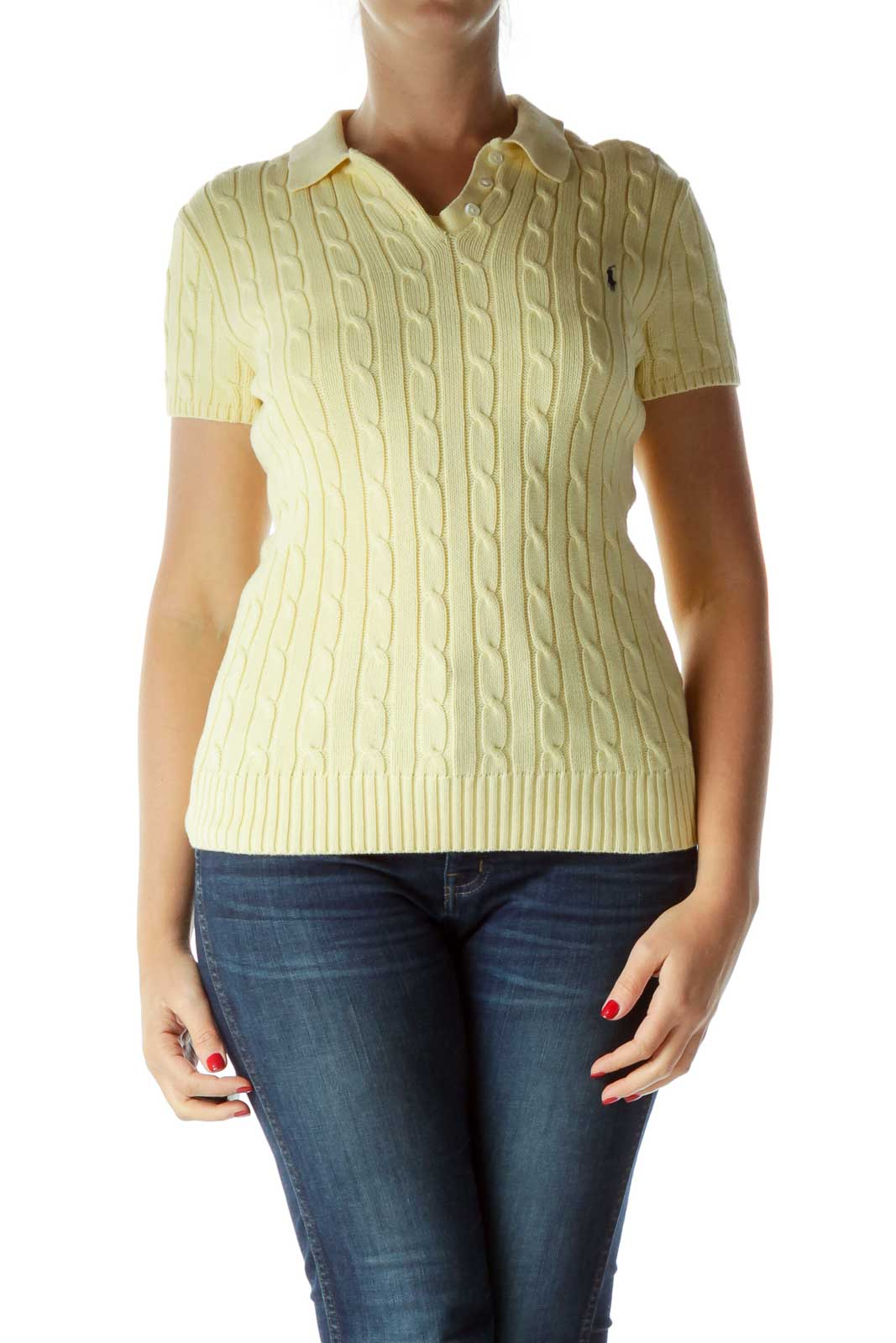 Yellow Cable Knit Short Sleeve Polo Front
