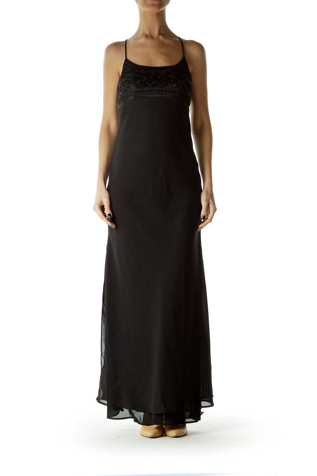 Black Spaghetti Strap Empire Waist Evening Dress Front