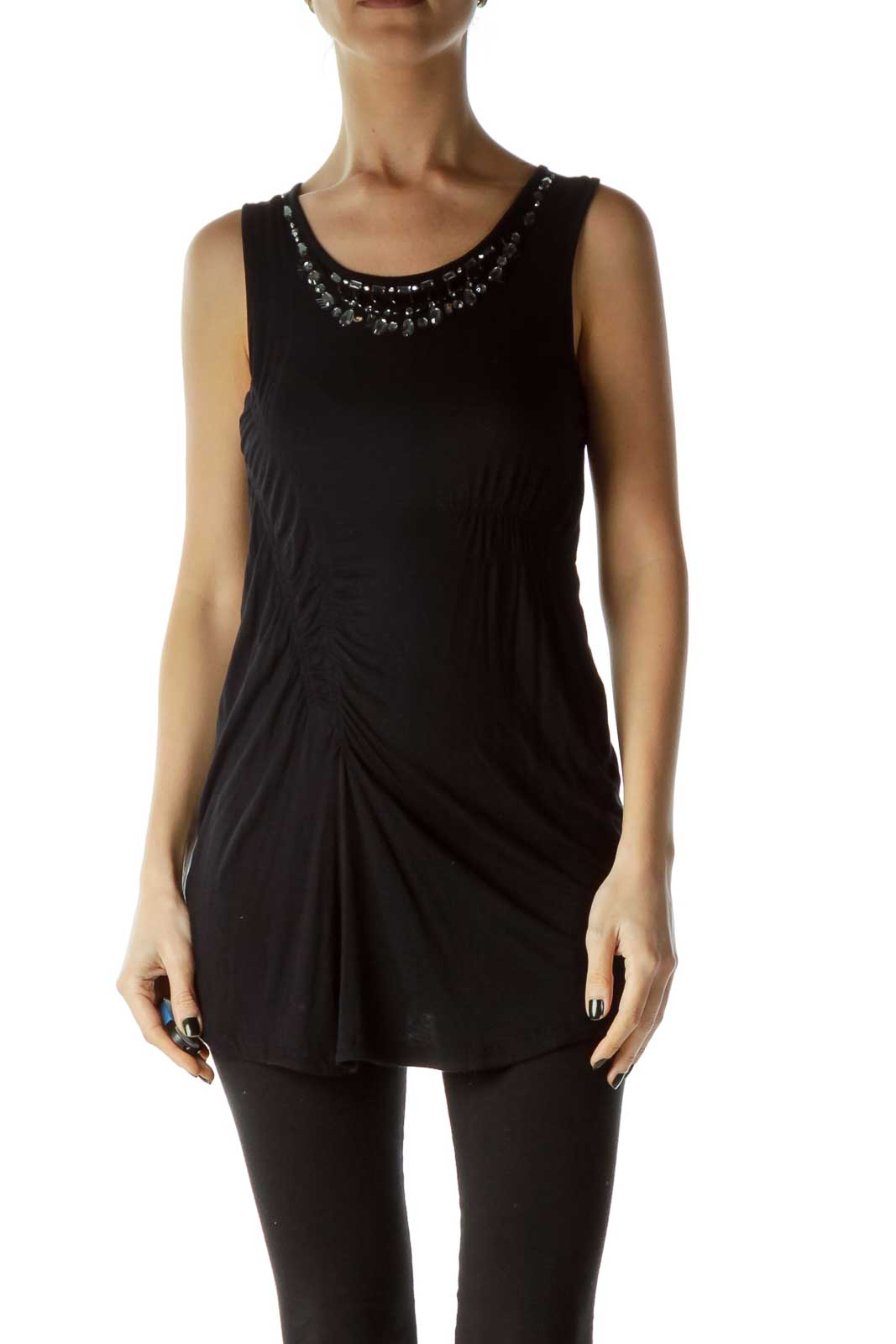 Black Scrunched Beaded Tank Top Front