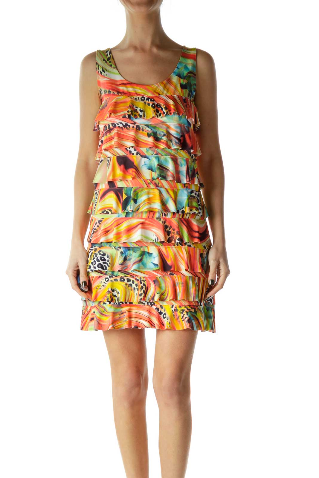 Multicolor Ruffled Cocktail Dress Front