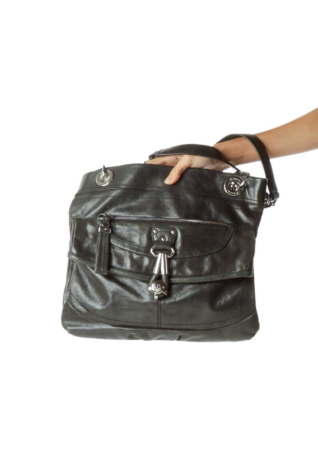 Black Metallic Leather Chain Detail Bag Front