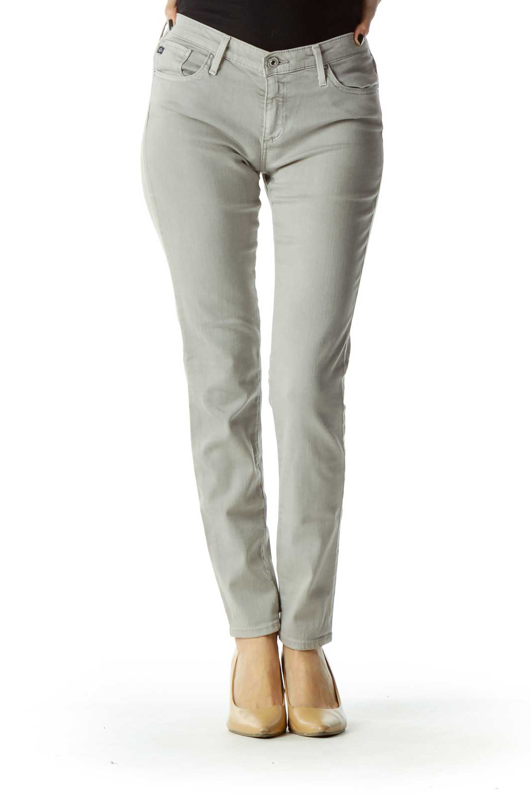 Gray Straight Leg Ankle Pants Front