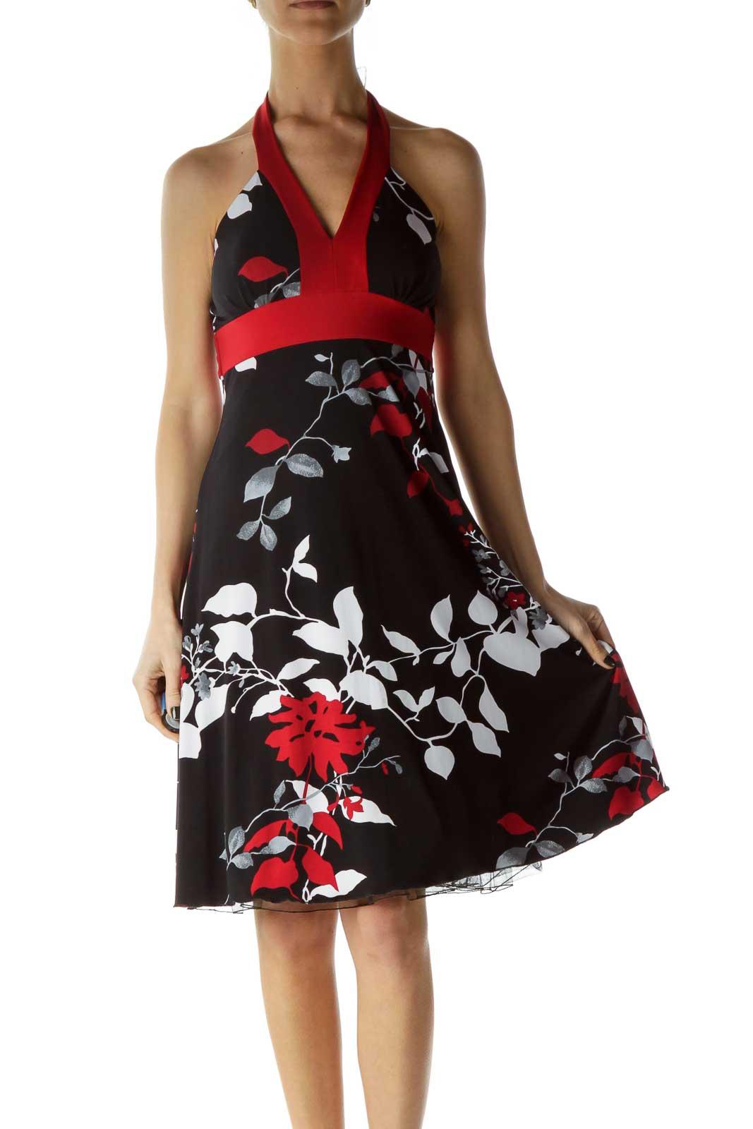 Black Red Printed Halter Dress Front