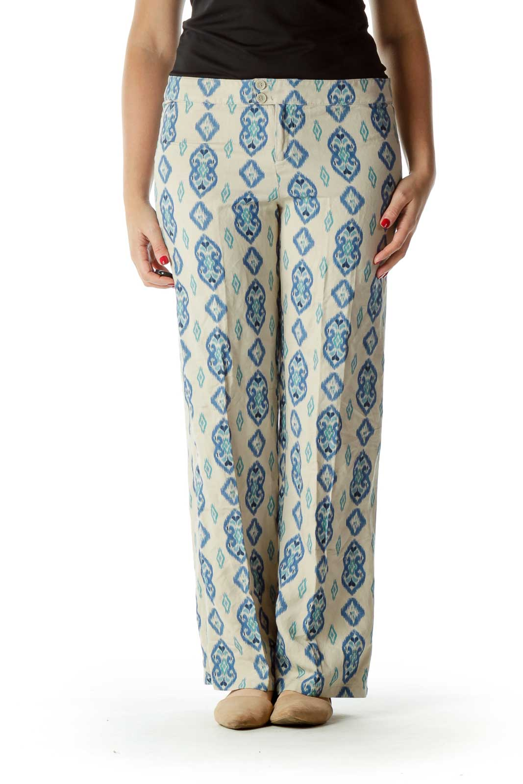 Blue Beige Printed Design Pants Front