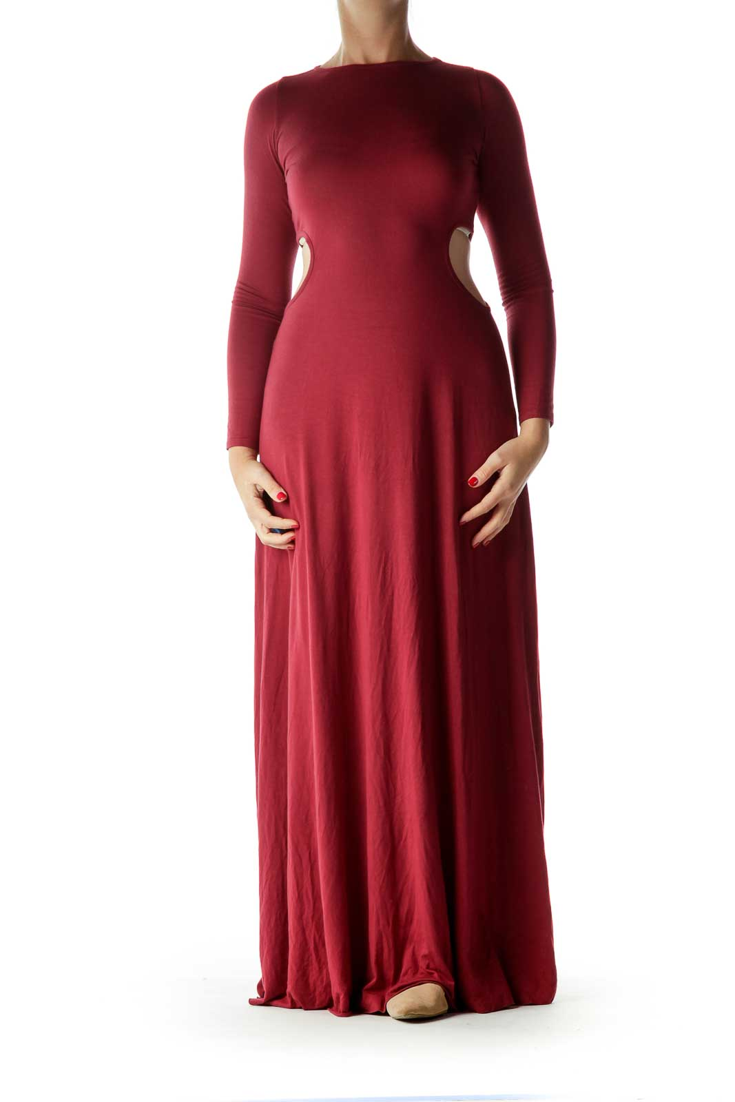 Burgundy Long Sleeve Cut Out Maxi Dress Front