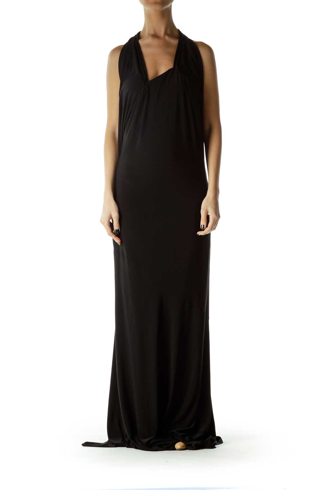 Black Halter Maxi Dress Front