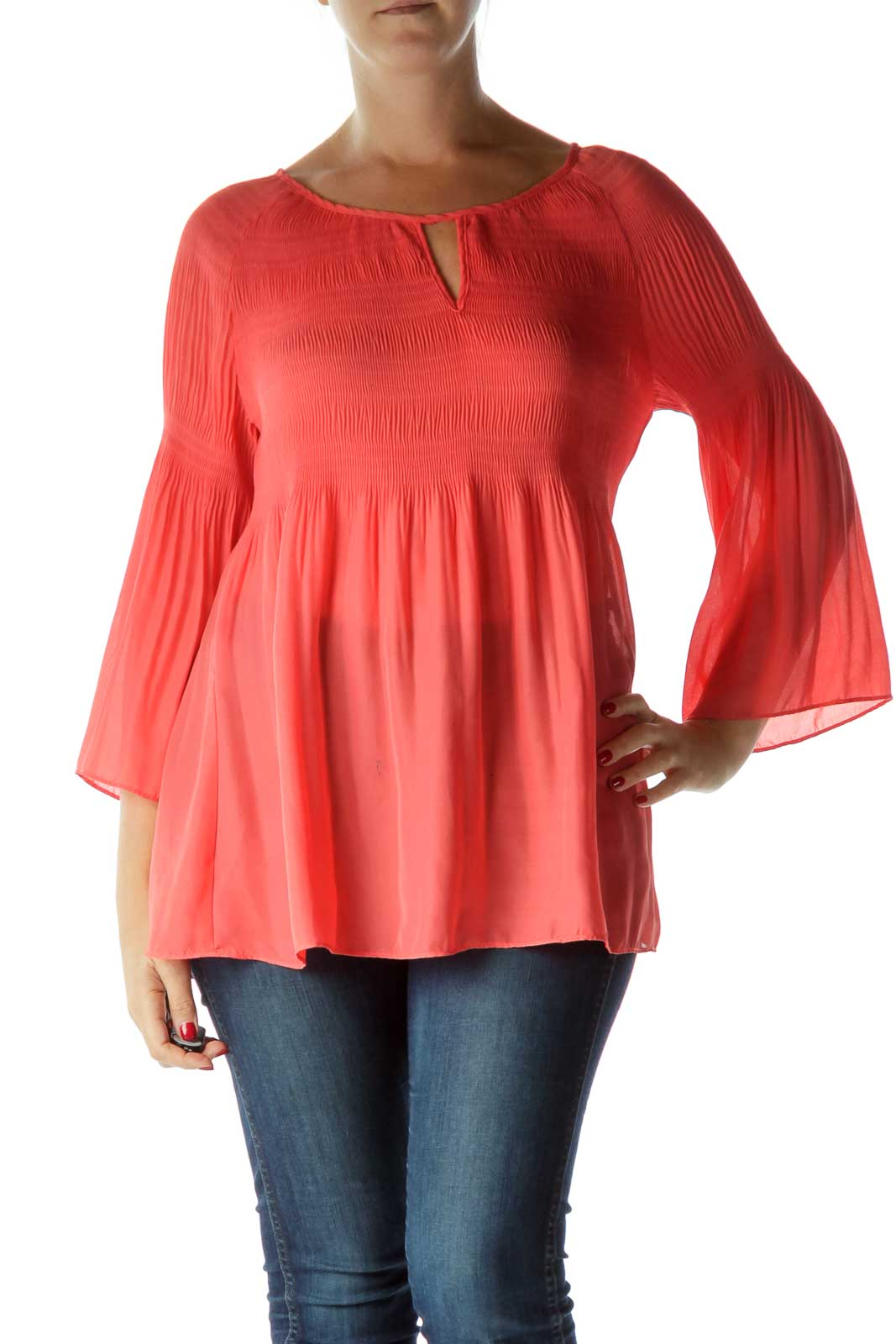 Pink Scrunched Top Front