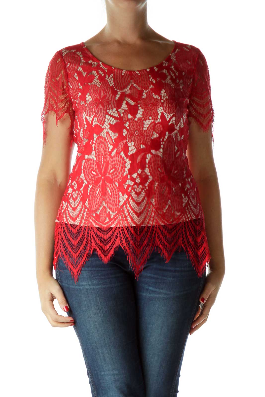 Red Lace Open Back T Shirt Front