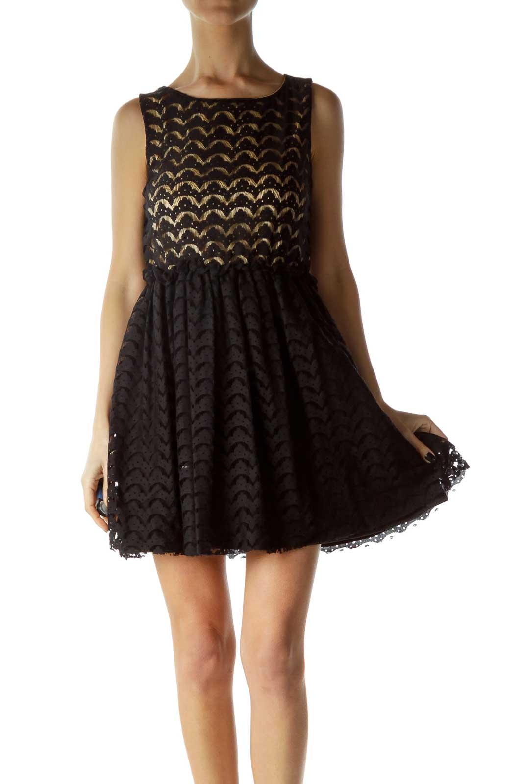 Black Beige Lace Cocktail Dress Front