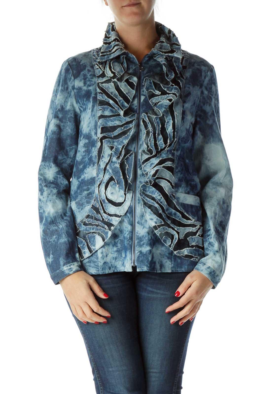 Blue Tie Dye Denim Jacket Front