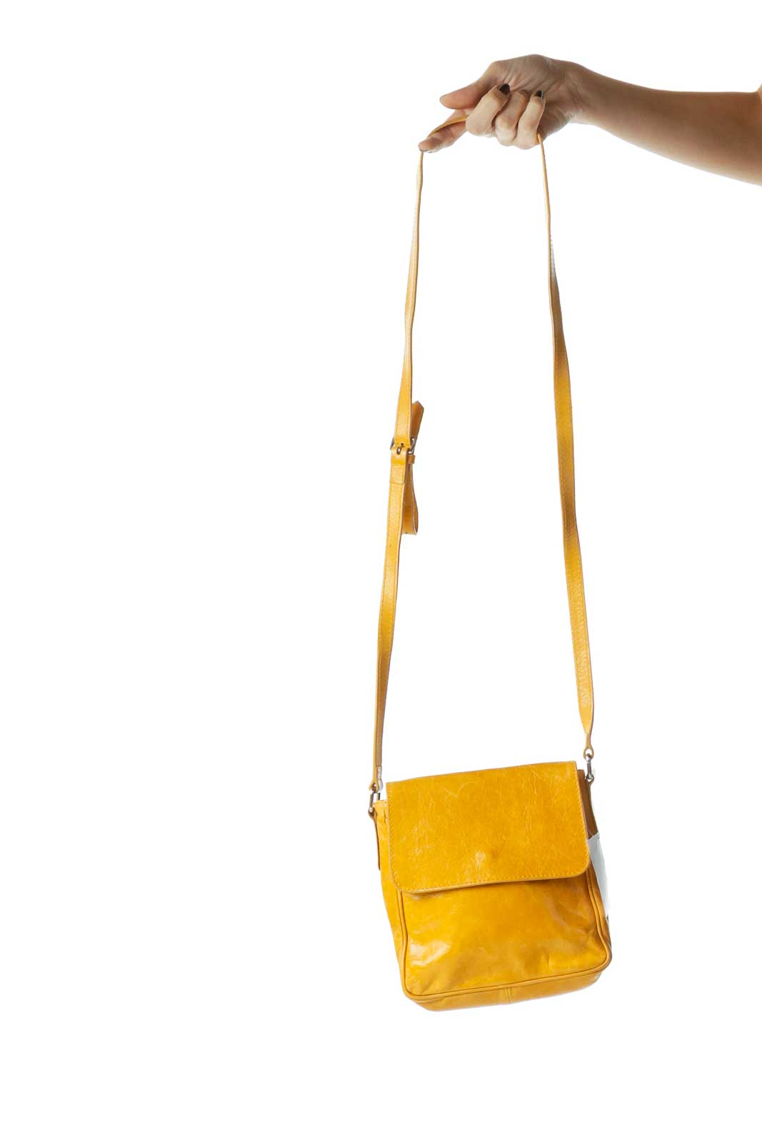Yellow Leather Flap Crossbody Bag Front