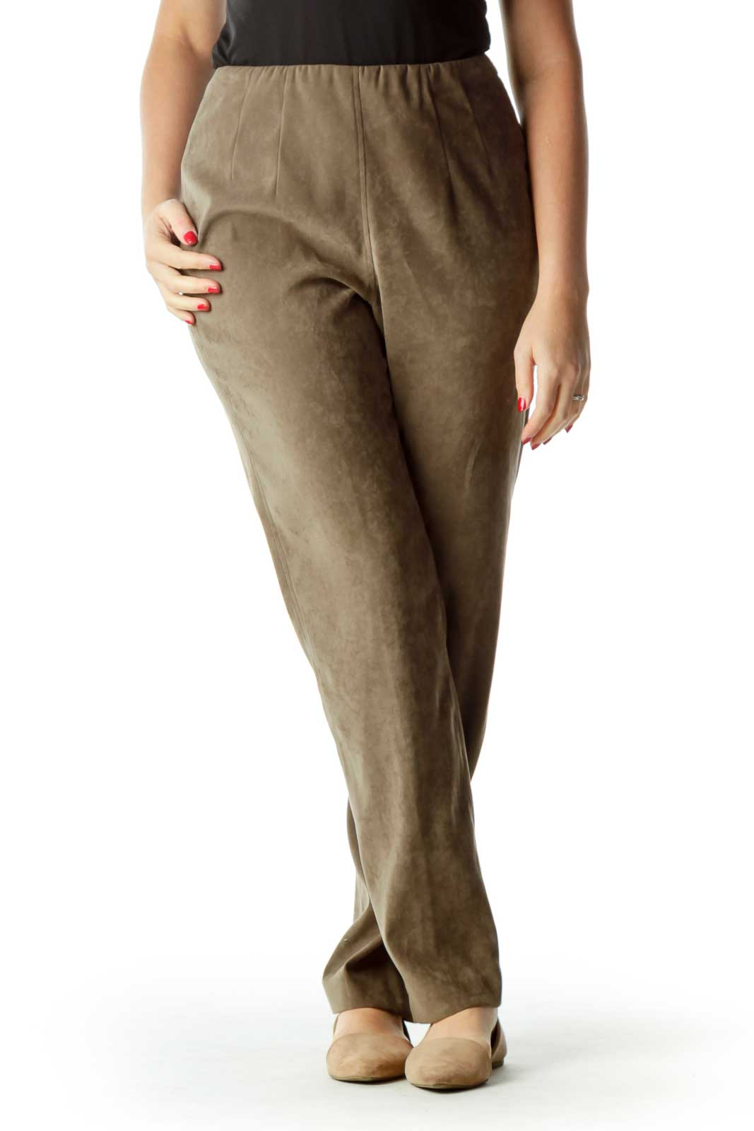 Brown High Waisted Straight Leg Pants Front
