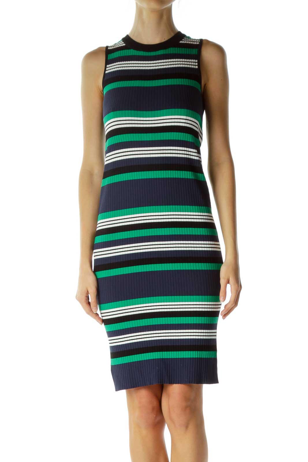 Green Navy Striped Sleeveless Knit Dress Front