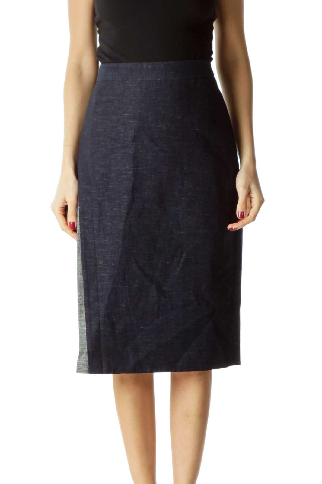 Blue Pencil Skirt with a Slit Front