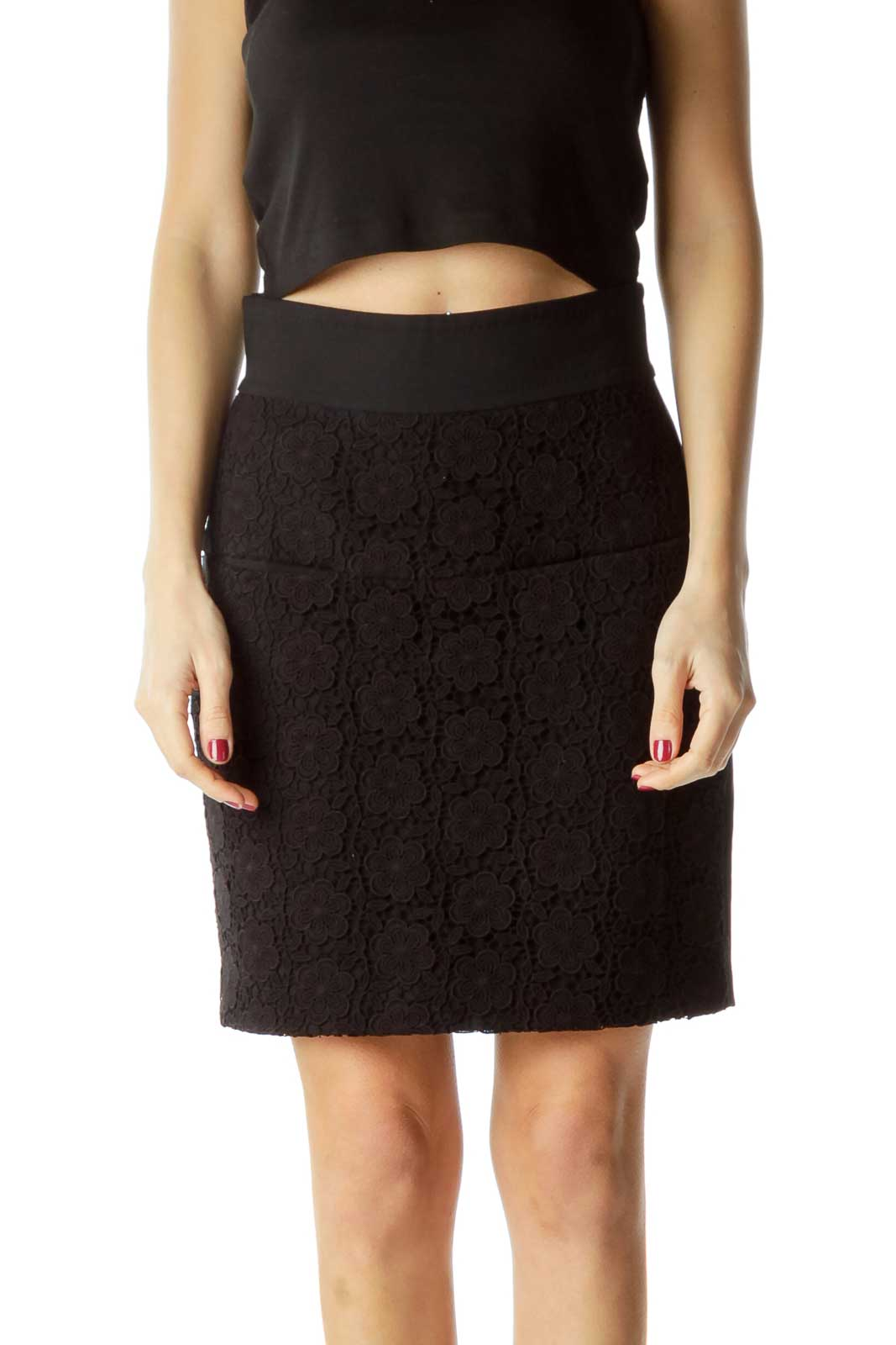 Black Flower Textured Front A-Line Skirt Front