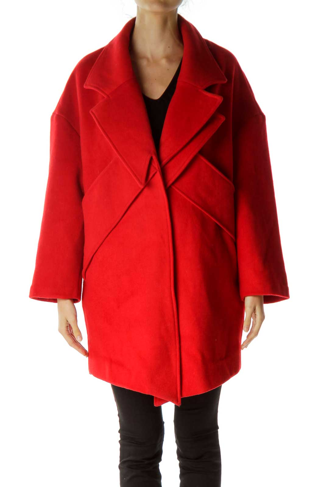 Red 3/4 Sleeve Double Collared Coat Front