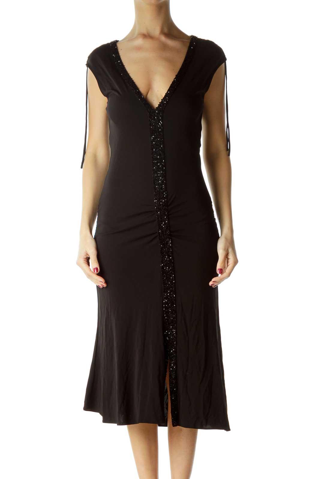 Black Beaded Midi Cocktail Dress Front