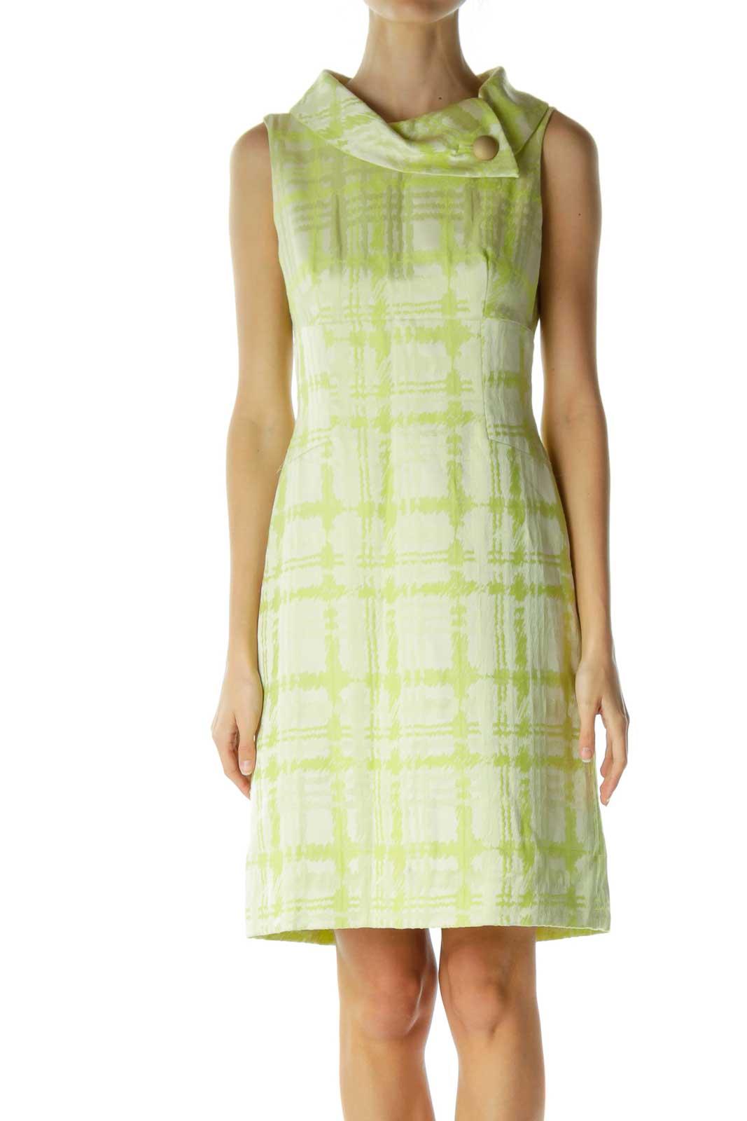 Green Cream High Neck Shiny Work Dress Front
