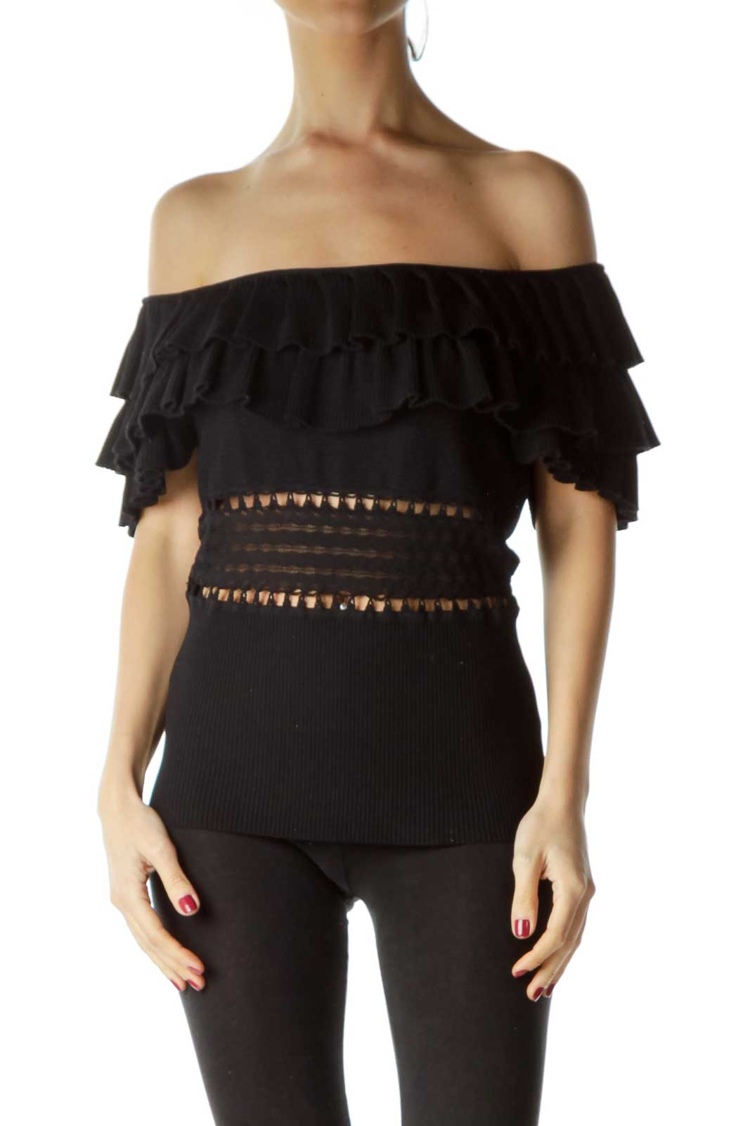 Black Ruffled Knit Top Front