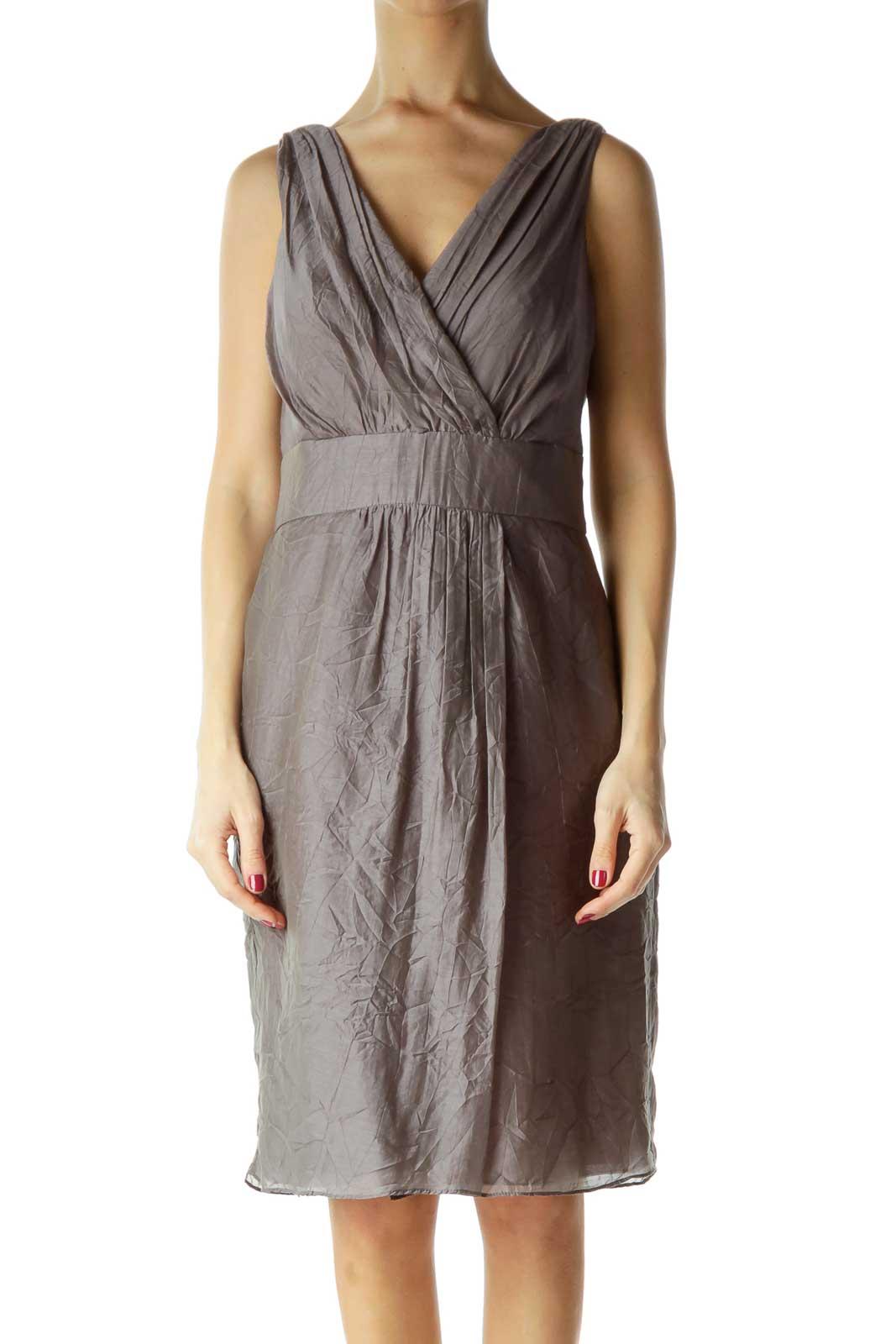 Gray V-Neck Sleeveless Work Dress Front