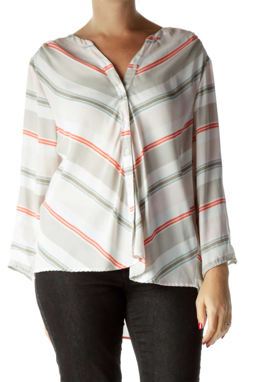 Pink Print Blouse Front