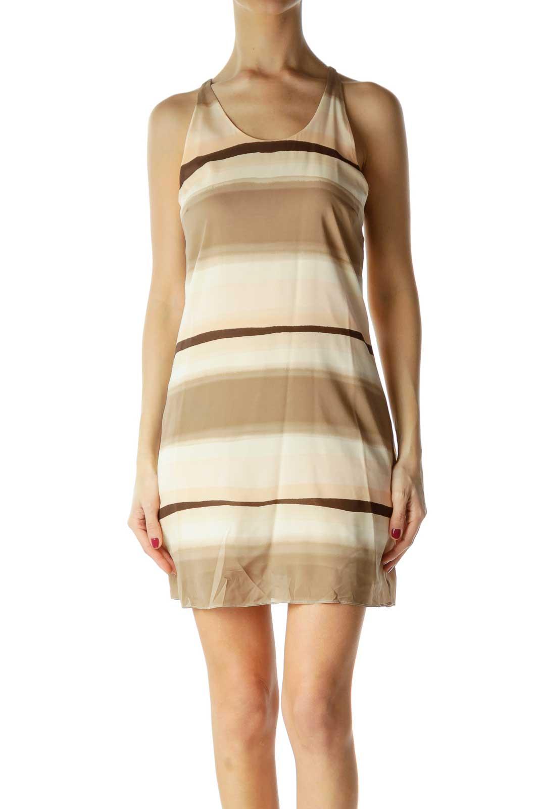 Brown Pink Striped Racerback Dress Front