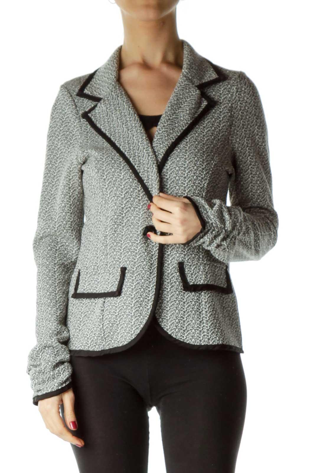 Black White Mottled Knit Jacket Front
