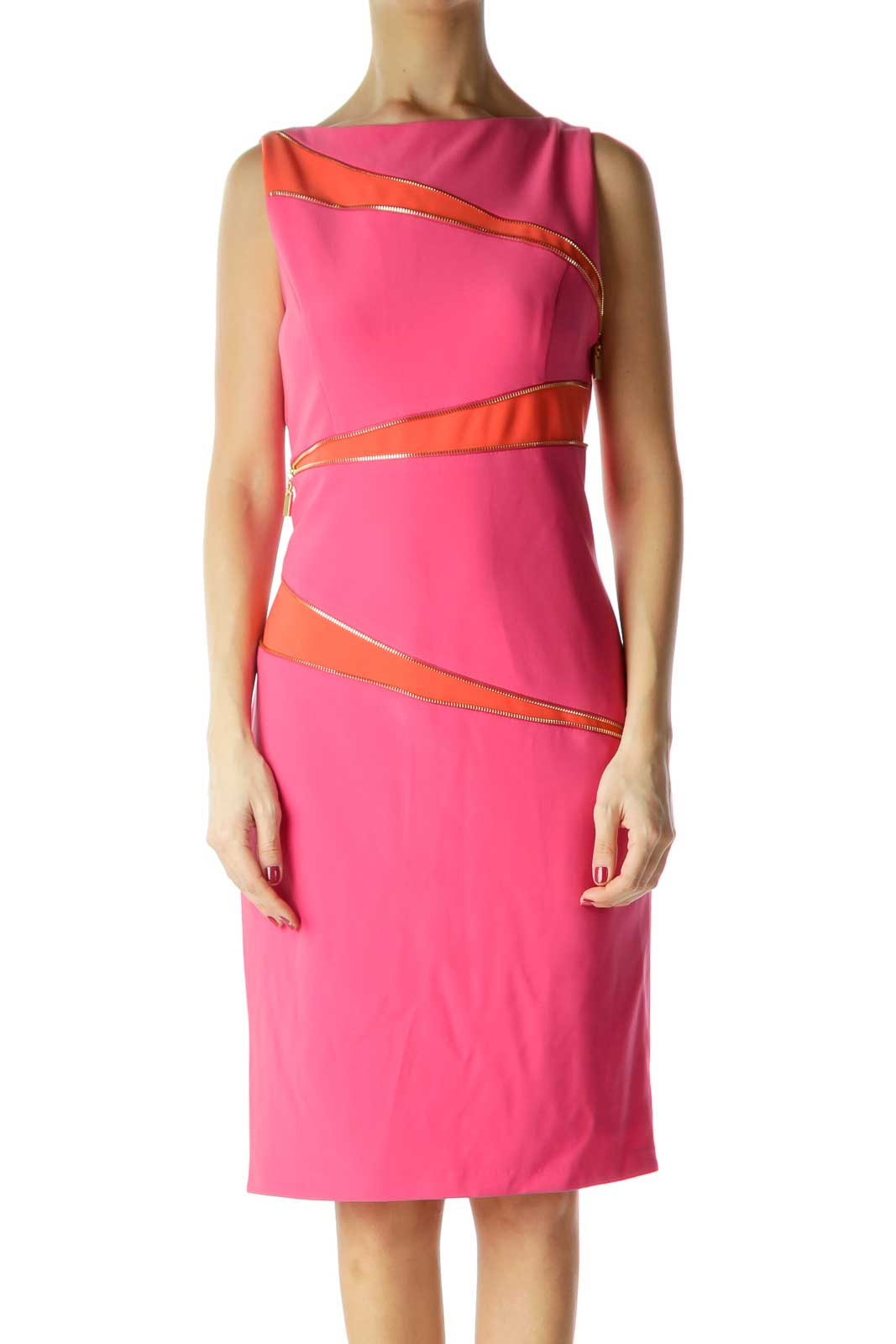 Pink Orange Work Dress with Diagonal Zippers Front