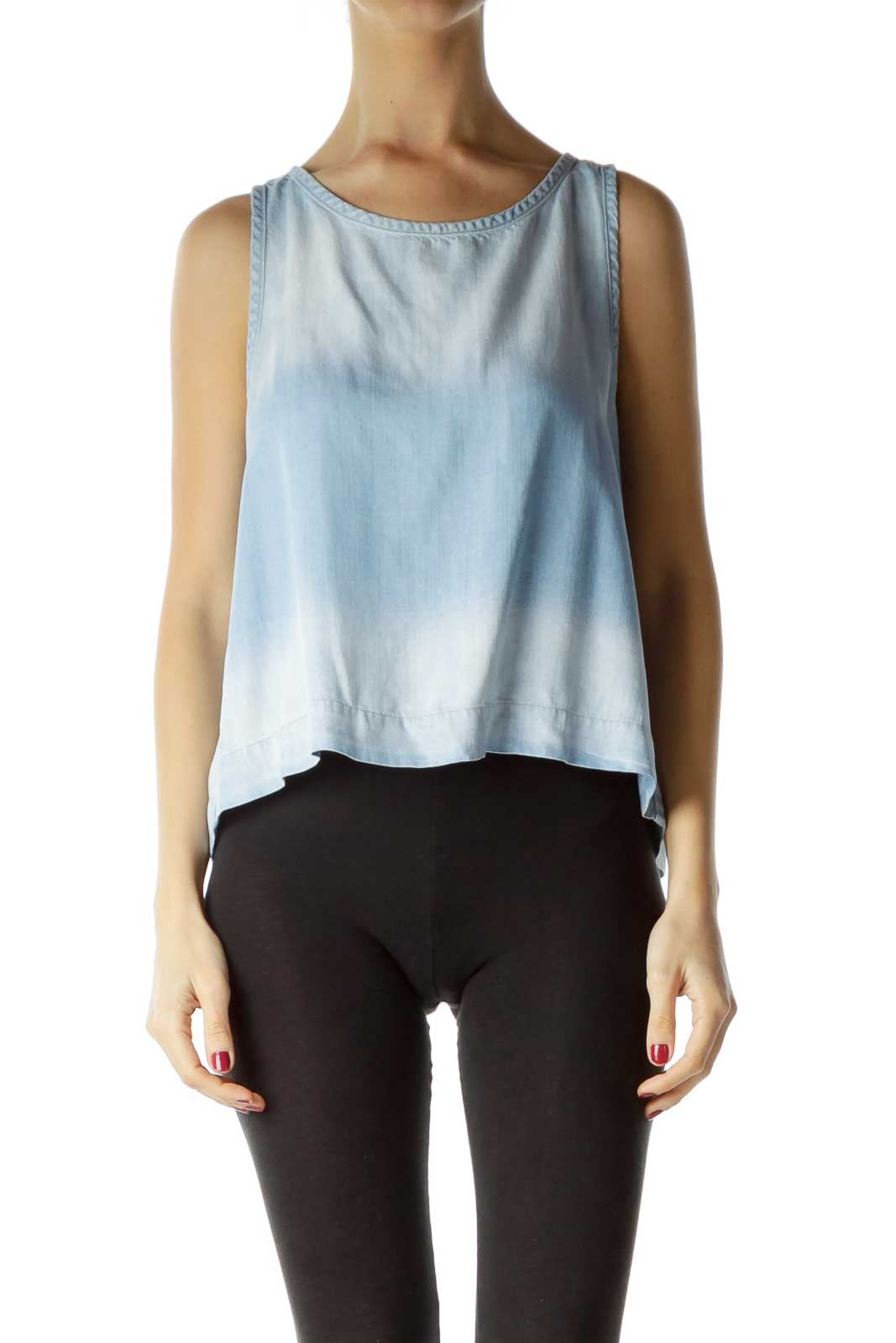 Blue Faded Button Back Crop Top Front