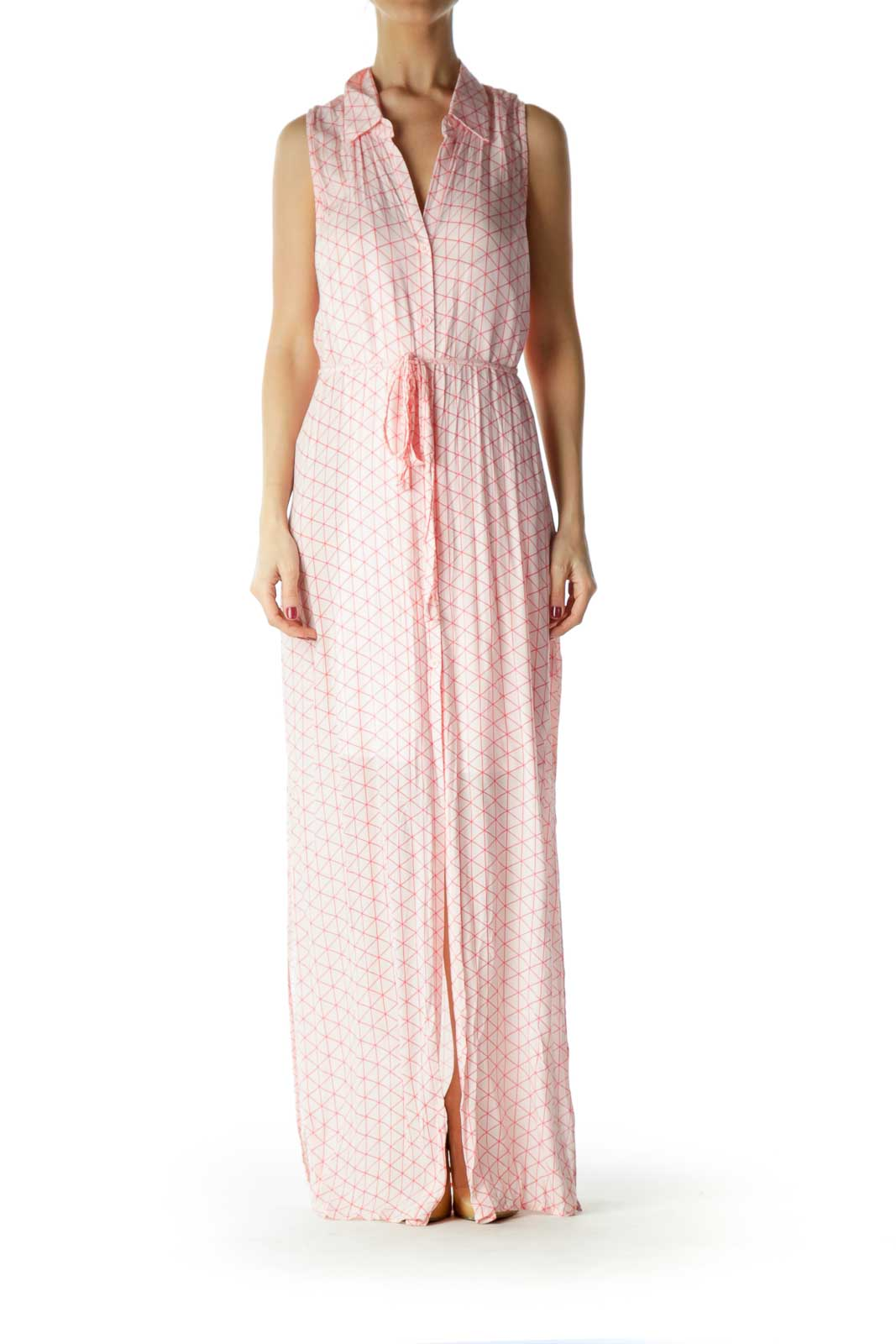 Pink Geometric Print Buttoned Day Dress Front